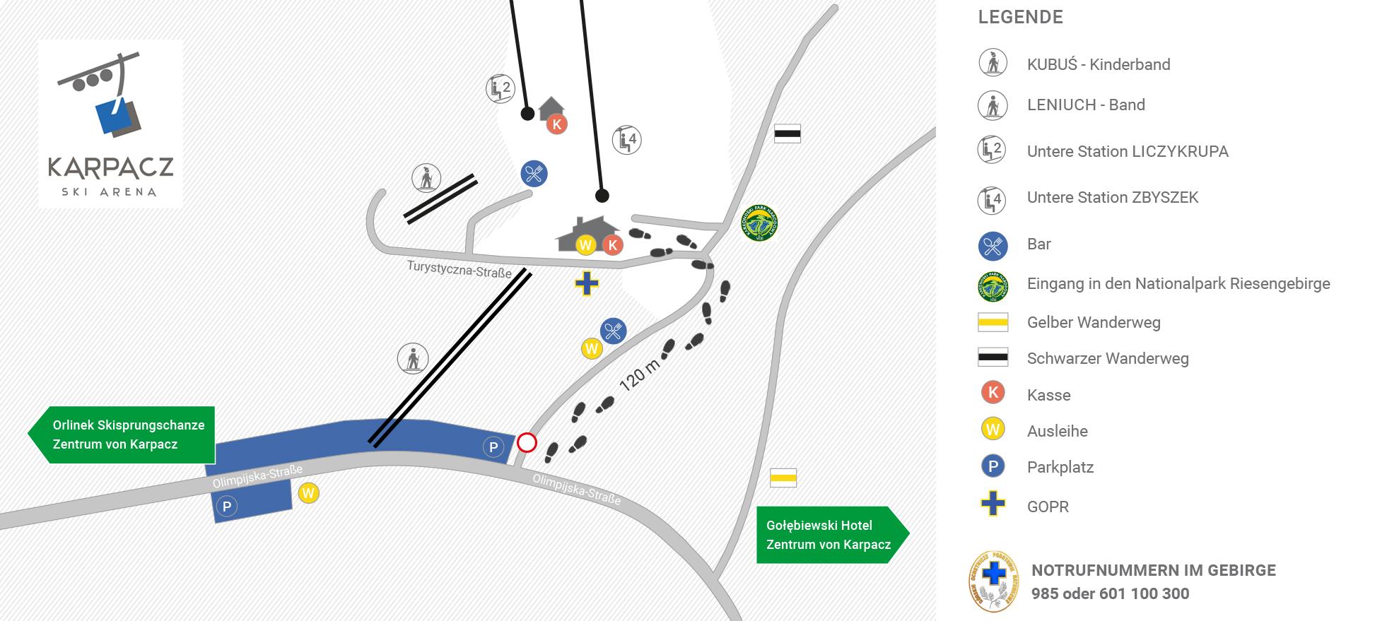 Karpacz Ski Arena - Parken und Zufahrt