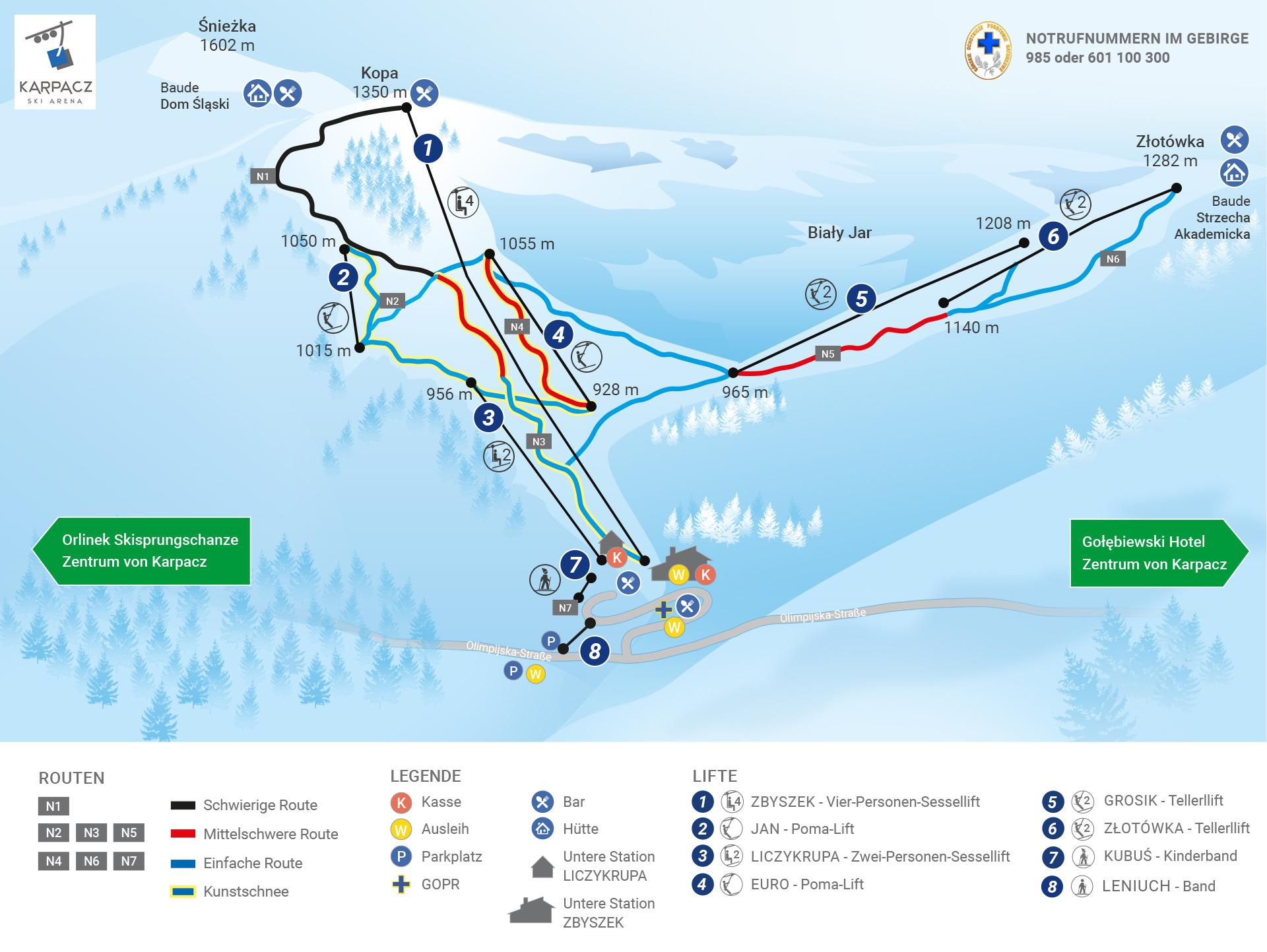 Karpacz Ski Arena_Karte der Routen und Lifte