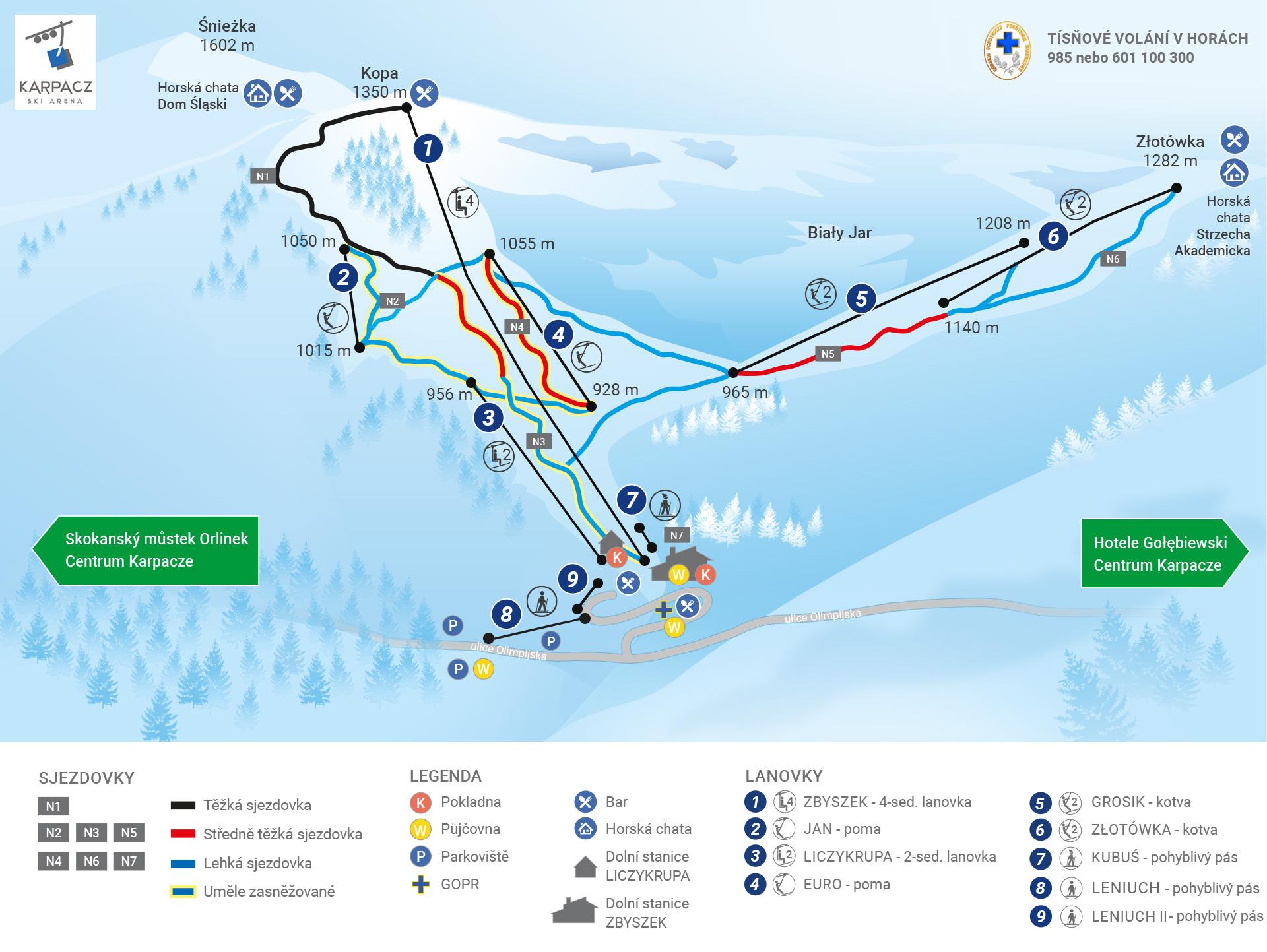 Karpacz Ski Arena_Mapa sjezdovek a lanovek