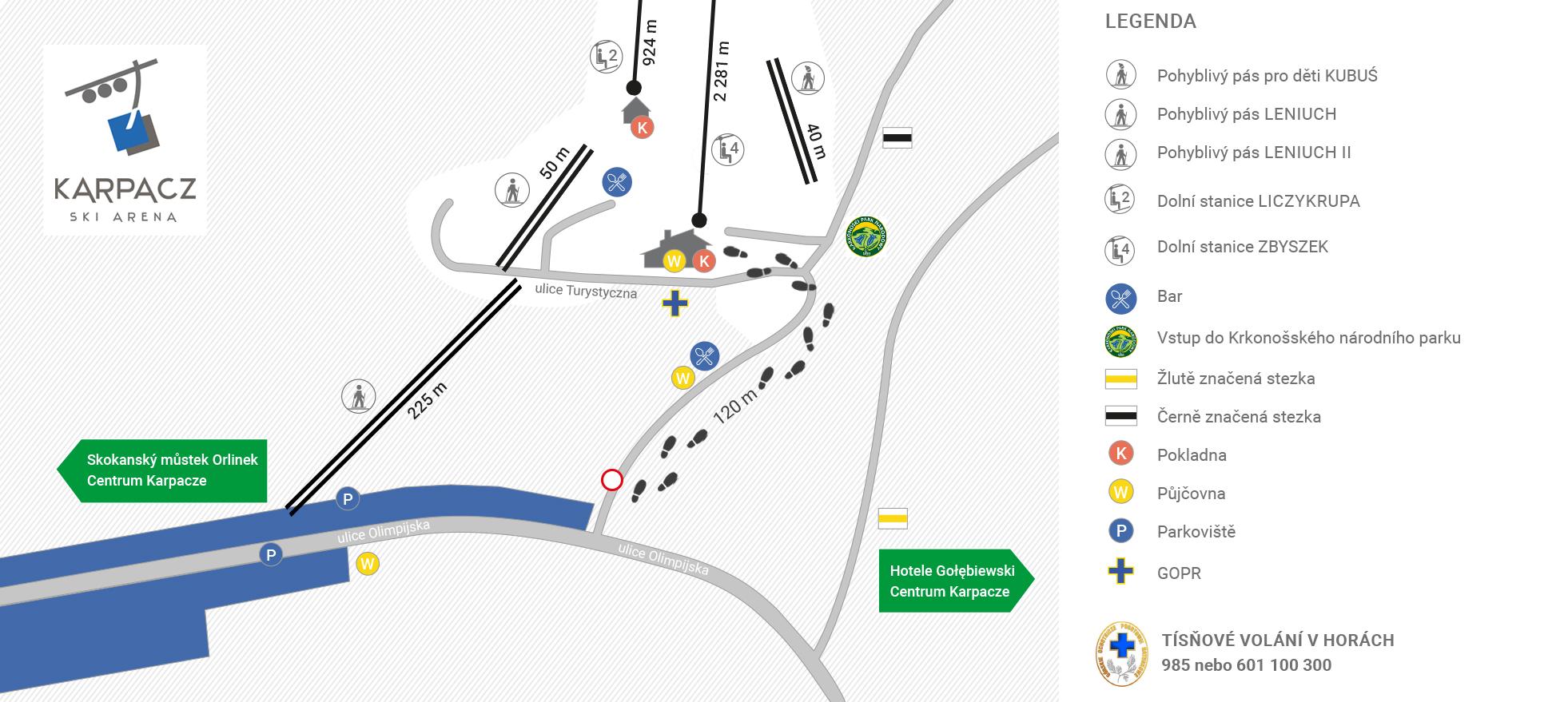 Karpacz Ski Arena_Mapa parkoviště a příjezd